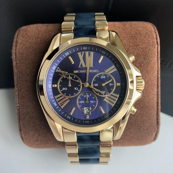 ff54053da03d NEW Michael Kors Gold and Blue Unisex Watch MK6268